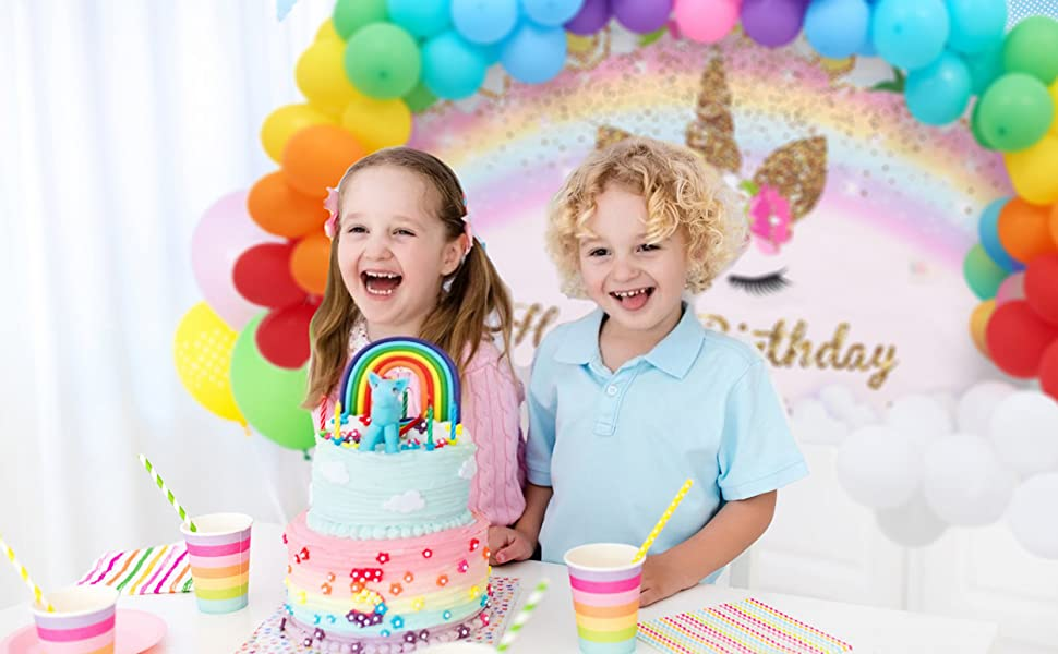 Rainbow Unicorn Backdrop with Colorful Balloons Garland Girls Unicorn Rainbow Birthday Party Supplies Balloons Kit Photo Booth Photography Backdrops for Unicorn Baby Shower Birthday Party Decorations