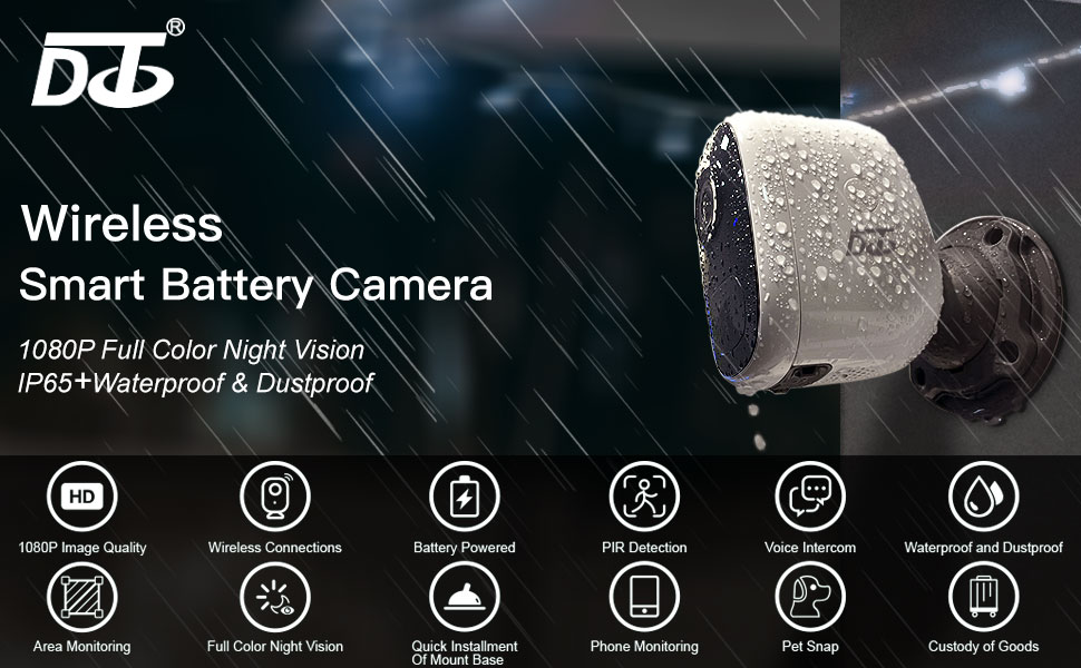 Wireless Smart Battery Camera Outdoor Indoor