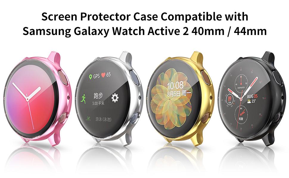 [Lot de 8] Coque de protection d'écran compatible avec Samsung Galaxy Watch Active 2 44 mm, coque de protection intégrale en TPU souple, cadre ...