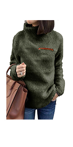 onlypuff Sherpa Pullover Sweaters for Women Fuzzy Faux Fleece Warm Top High Neck