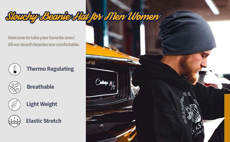 SLOUCHY BEANIE HAT FOR MEN WOMEN