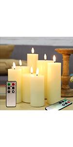 Flameless Pillar Candles Set of 7