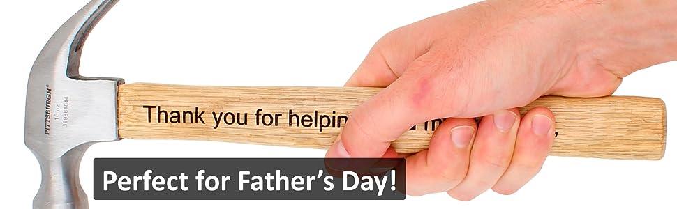 laser engraved personalized hammer fathers day christmas boyfriend man men dad grandpa custom