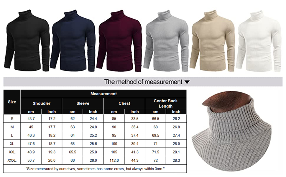 mens ribbed turtleneck knit sweater themal high neck sweater pullover