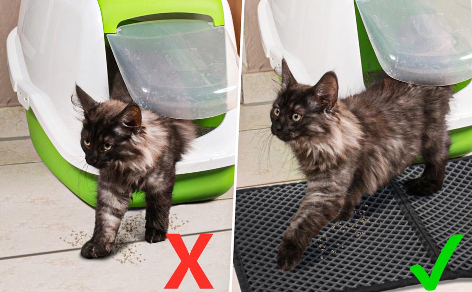 Mascotas Gatos Accesorios base impermeable Alfombra de Basura Rascadores Cat Litter Mat Litter Trapping Doble Capa no T/óxico Antideslizante F/ácil de Limpiar Estera de Arena para Gatos XS, Black