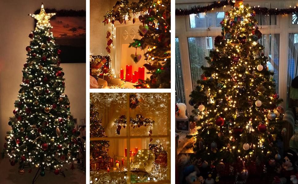 ANSIO Árbol de Navidad Luces 500 LED 12.5m Blanco cálido Luces interiores/exteriores Decoraciones Luces de cuerda de hadas Alimentación principal 41 pies Longitud encendida Cable verde: Amazon.es: Iluminación