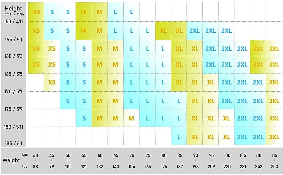 ODODOS Size Charts