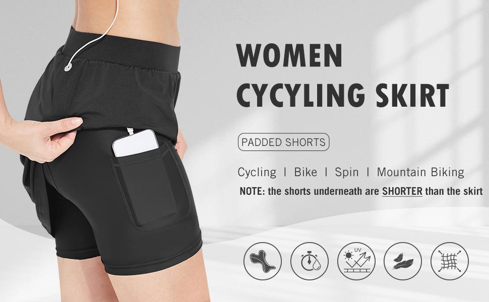 BALEAF Womens Cycling Skort with 3D Padded Liner Bike Shorts Side Pockets UPF50+