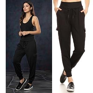 Shosho Womens Cargo Jogger Pants,Joggers,Sweats,Sweatpants,Womens Jogging pants,high waist,thick