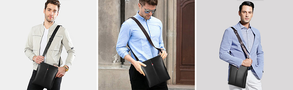 Borsello Uomo Pelle Borsa a Tracolla Vintage Borsa a Spalla Piccola Crossbody Bag Borse