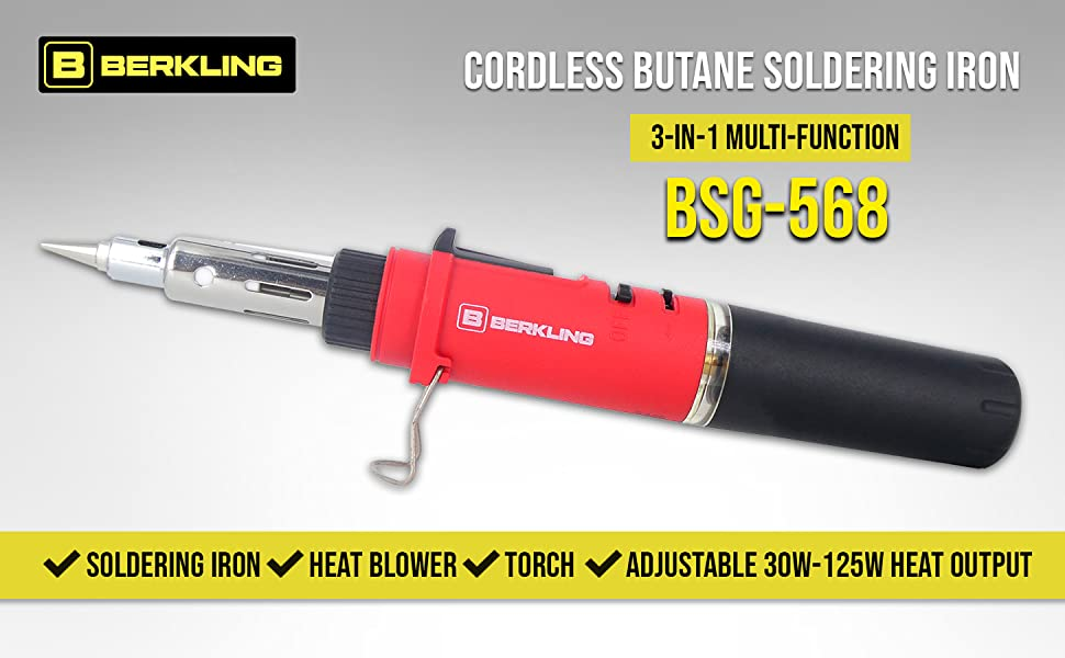 Berkling BSG-518K 2-in-1 Butane Self-Ignite Mini Soldering Iron Heat Gun Kit