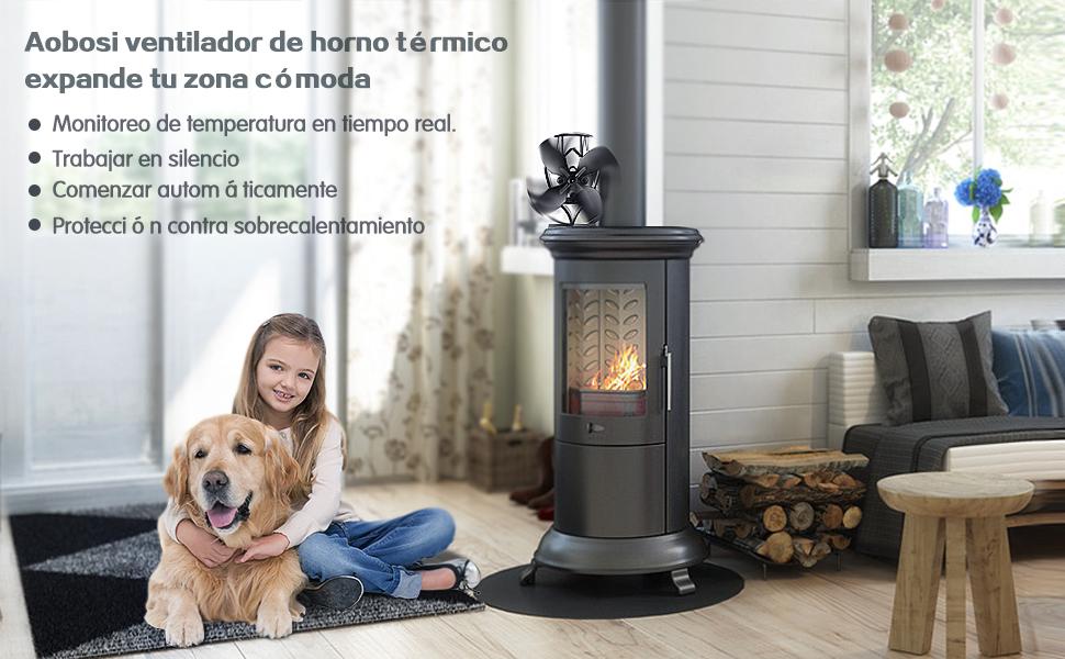Aobosi ventilador para chimenea para leña, estufa de leña ...