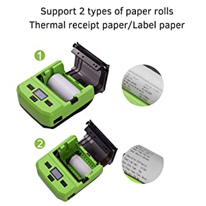 Aibecy Portable Wireless BT 80mm Thermal Barcode Printer Label Maker Machine Mini Receipt Bill Ticket Printer with Rechargeable Battery Display Screen ...