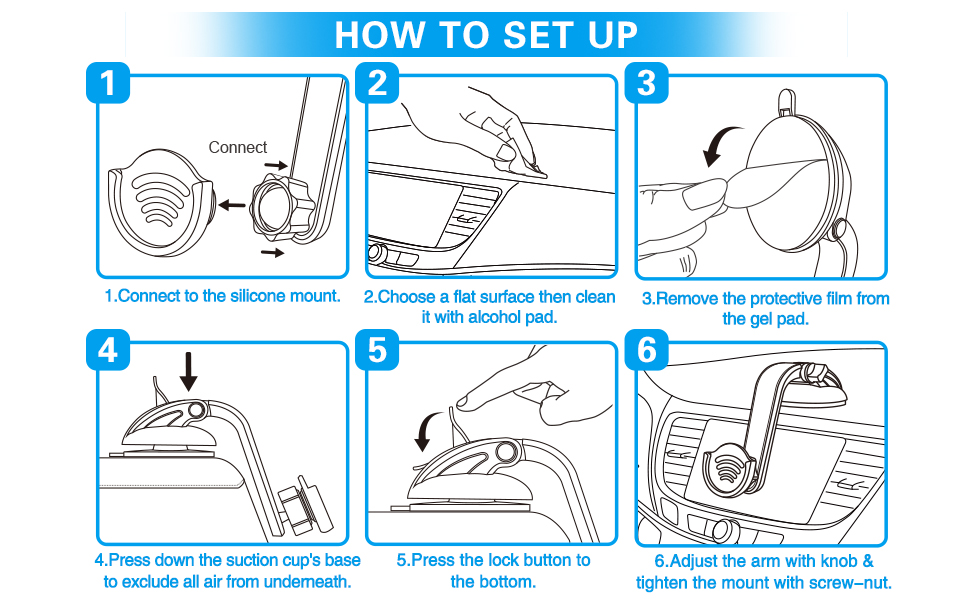 installation steps for suction cup phone holder
