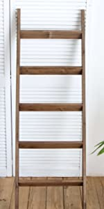 Blanket Ladder Wood Rustic Decorative - Brown