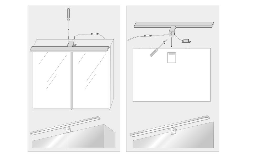 Lampe Miroir Led Lampe Armoire miroir Salle de bains IP44 blanc neutre 4000 K 400x106x40mm 8W 600