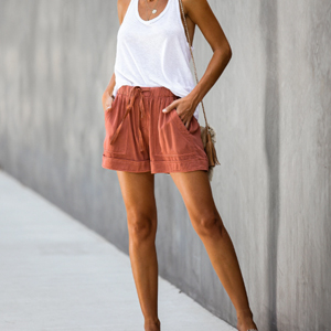 Womens Casual Drawstring Elastic Waist Comfy Summer Pure Color Shorts with Pockets