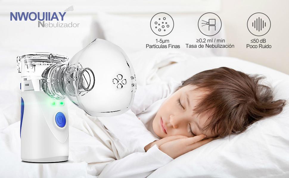 NWOUIIAY Nebulizador Portátil Inhalador Eléctrico Silencioso Cable USB Recargable para Adultos y Niños: Amazon.es: Salud y cuidado personal