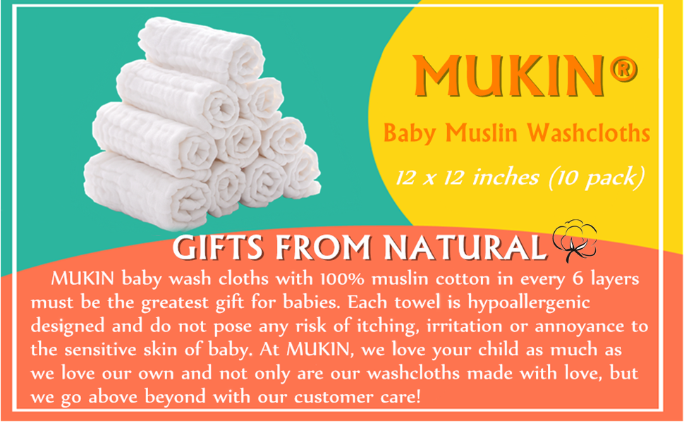 baby muslin washcloth and towels
