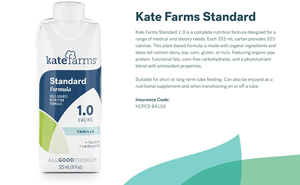 Amazon Com Kate Farms Adult Standard 1 0 Formula Sole Source Nutrition Meal Replacement Shake Or Supplemental Drink Complete Vegan Protein Shake Vanilla 1 0 Cal Ml Case Of 12 Grocery Gourmet Food