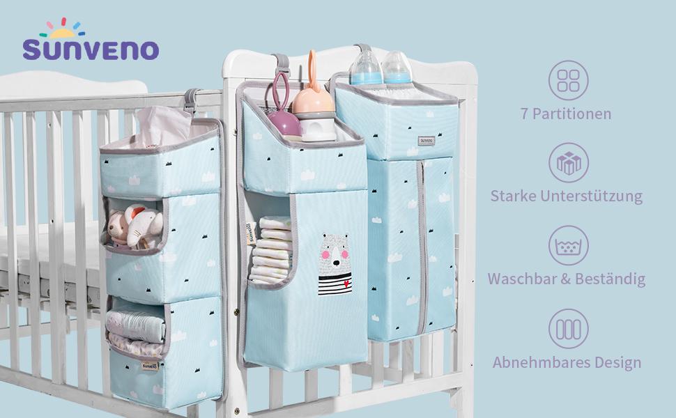 3 in 1 per fasciatoio Sunveno Organizer da appendere per il presepe multifunzione impermeabile per bambini rimovibile borsa portaoggetti da appendere colore: blu