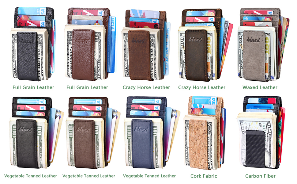 56333adb89cc Money Clip, Front Pocket Wallet, Leather RFID Blocking Strong Magnet thin  Wallet