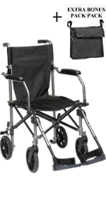 "Wheelchair Transport Folding 19"""