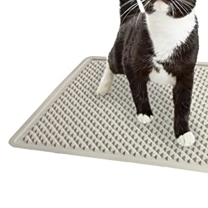 Scatter Reducing Kitten Litter Trapping Silicone Mat All for Paws Go Fresh Cat Litter Mat 19.5x13.5 Inch