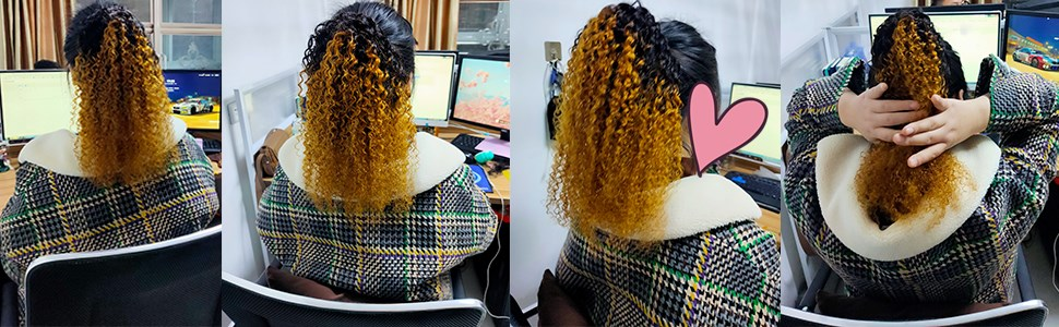 ombre ponytail hair curly hairpiece