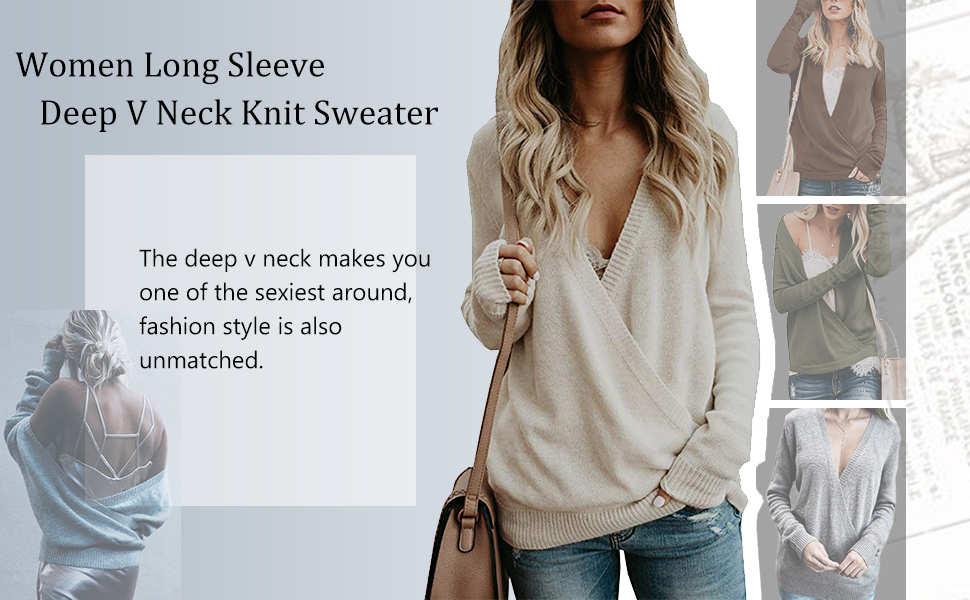 women deep v neck front wrap sweater wrap front sweater long sleeve wrap front tops knitted sweater