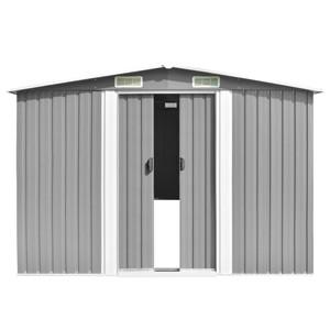 Tidyard Caseta de Jardín Exterior con 4 Ventilación para Almacenamiento de Herramientas de A Prueba de Polvo y Resistente a la Intemperie de Acero Galvanizado 257x398x178 cm Gris: Amazon.es: Hogar