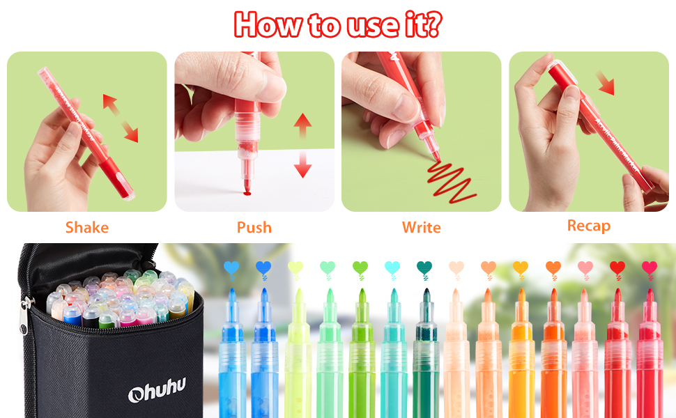 Acrylic Marker Pen for DIY Ceramic Acrylic Ink Painting for Porcelain Metal Wood Fabric Canvas Glass