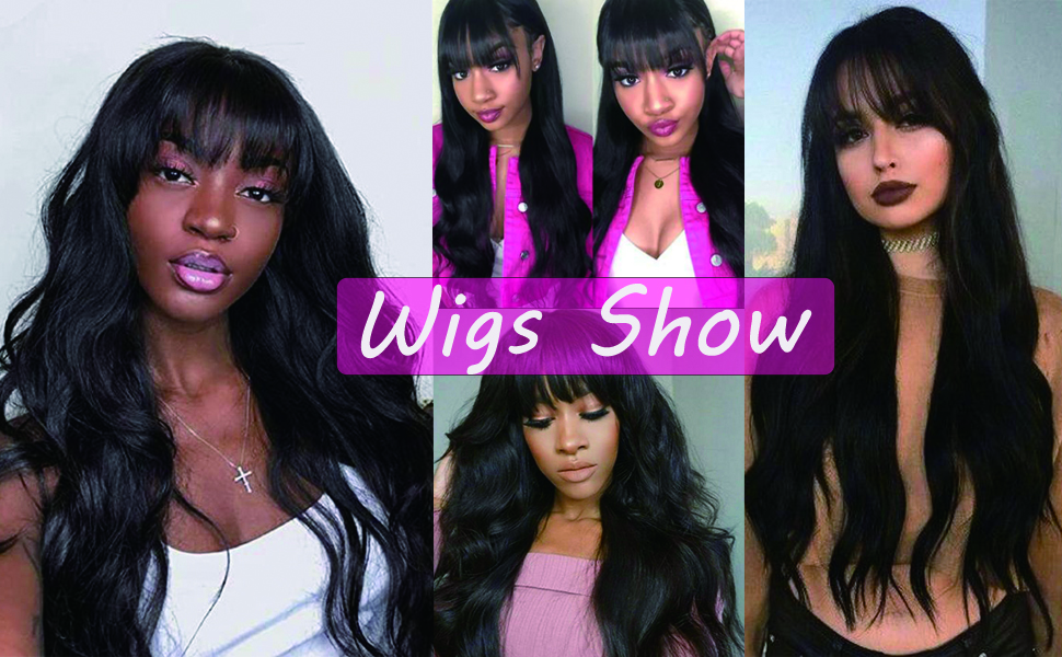 Synthetic Long Curly Wavy Wigs with Bangs
