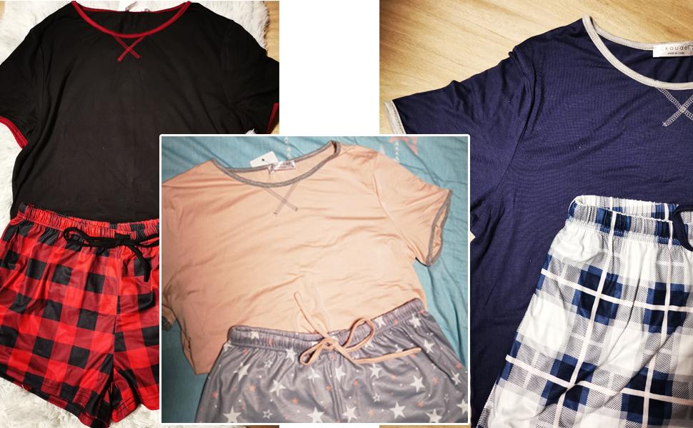 Schlafanzug Damen Kurz Pyjama Shorty Set Kurzarm Nachtwäsche Sommer Zweiteiliger Hausanzug
