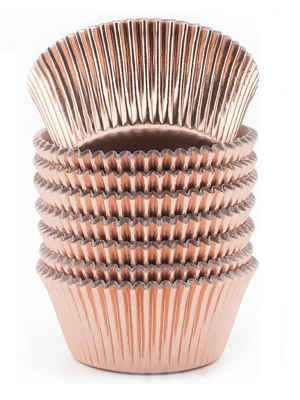 rose gold cupcake liners, gold cupcake liners, foil cupcake liners, foil baking cups