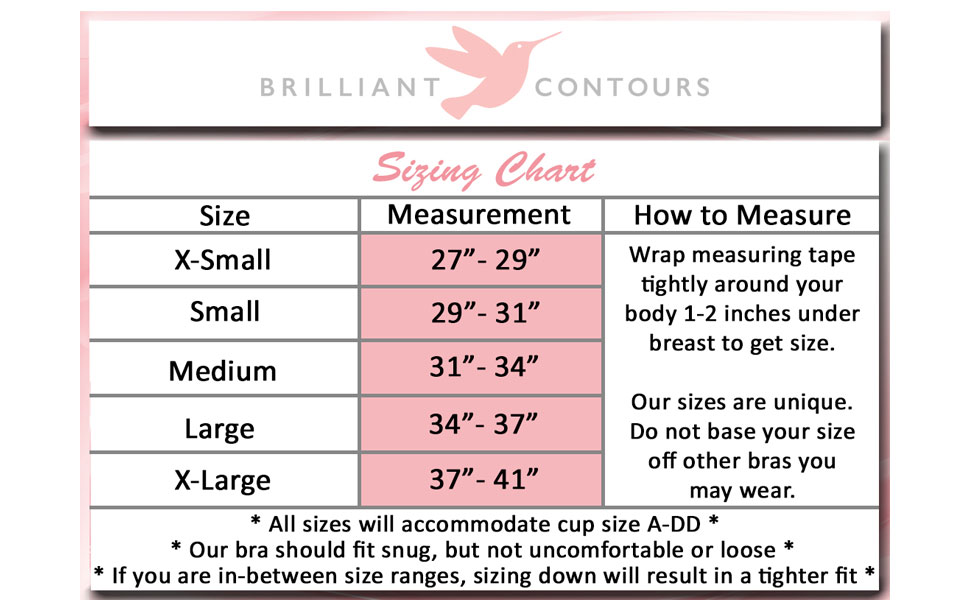 Brilliant Contours sizing, breast surgery recovery bra sizes, post surgical bras