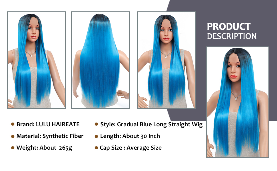 Long Ombre Blue Straight Wig for Women Heat Resistant Synthetic Wigs with Natural Simulated Scalp