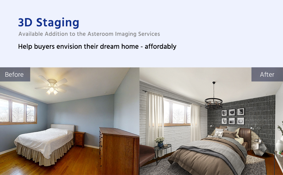 Virtual staging is available addition to the Asteroom Imaging Services