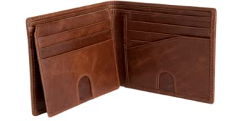 RFID blocking bifold wallet for men with id window and billfold gift good quality premium flip id