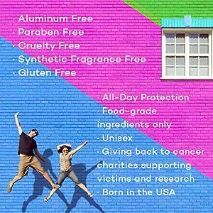 Aluminum, Paraben, Gluten, Cruelty Free, Unisex, Charity, Made in USA, Best Deodorant, Non Toxic