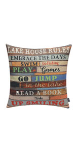 Trendin Lake House Rules Pillow Cover, 18x18 inch