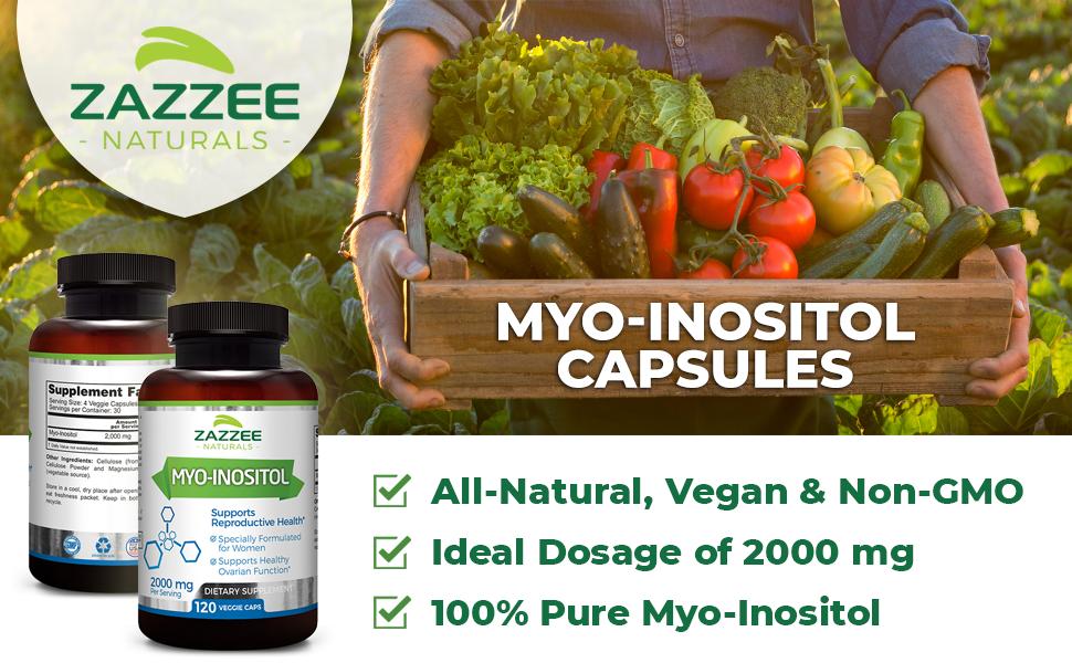 Zazzee Naturals Myo-Inositol Capsules are All-Natural, Vegan, Non-GMO, 100% Pure & 2000 mg / Serving