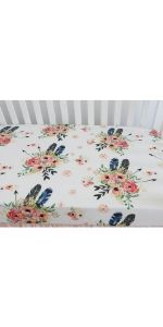 Crib Sheet- Feather Floral