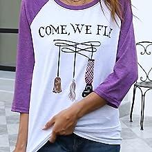 Halloween tees letter print shirts sanderson sister halloween tees tops come we fly print tshirt