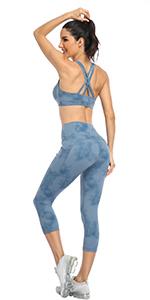 tie dye printed pattern yoga capri leggings pants for women 7/8 leggings for women high waist pockte