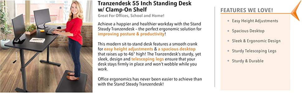 tranzendesk, stand steady, stand steady tranzendek, manual crank height adjustable, sit stand desk