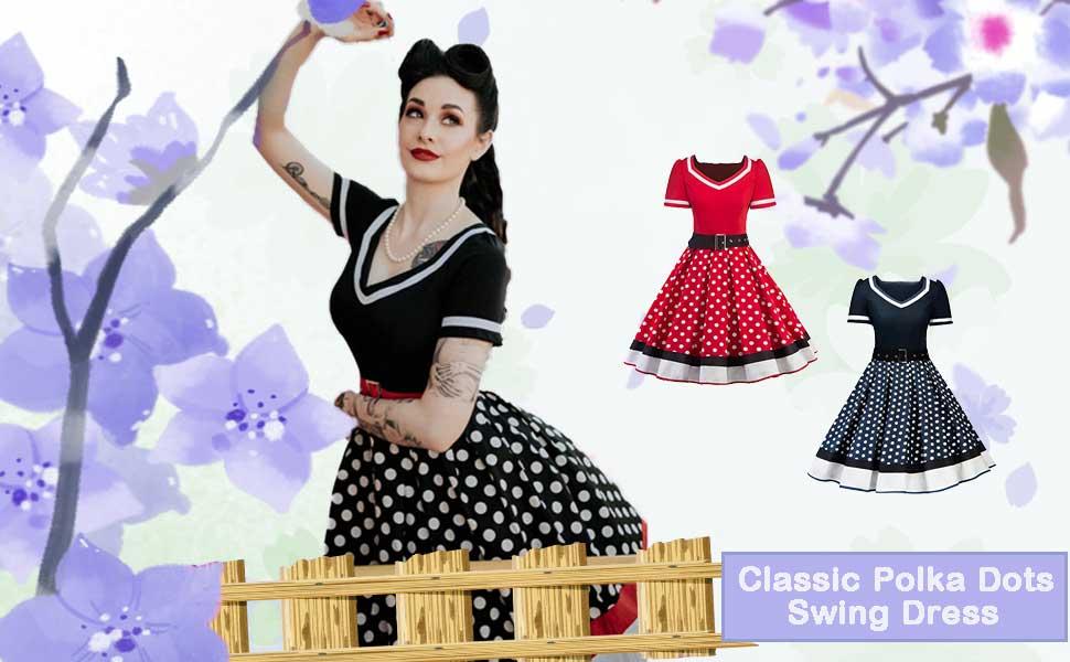 50s Style Short Sleeves Rockabilly Vintage Dress with belt polka dots knee length dress swing dress