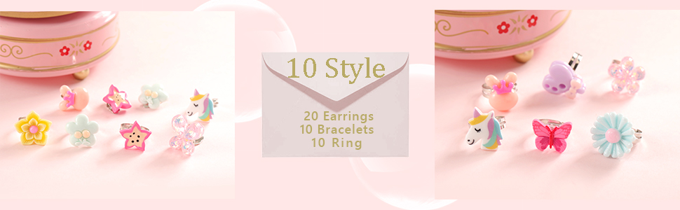 10Pack 30pc PinkSheep Beaded Bracelets Ring Clip On Earrings for Kids Girl Unicorn Butterfly Flowers Ring Party Gifts