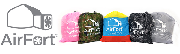 AIR FORTS fin in a bag and blow up to make a big fort.