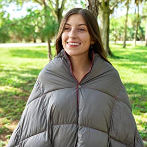 Teal Blue Double Puffy Camp Blanket Poncho Snaps Backpacking Blanket Waterproof